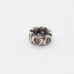 Pandora Space In My Heart Pink Crystal Charm 925